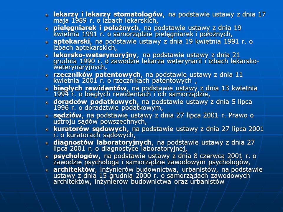 lekarzy i lekarzy stomatologów, na podstawie ustawy z dnia 17 maja 1989 r. o izbach lekarskich, pielęgniarek i położnych, na podstawie ustawy z dnia 1