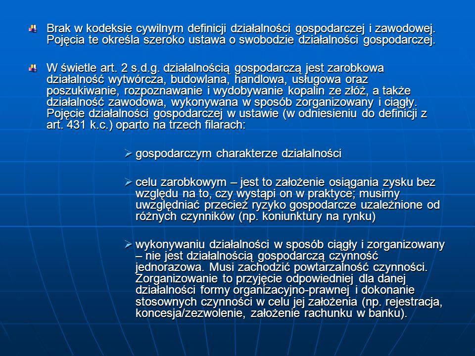 Znowelizowany Kodeks cywilny zrównuje z prowadzeniem działalności gospodarczej prowadzenie działalności zawodowej, jako element definicji przedsiębiorcy.