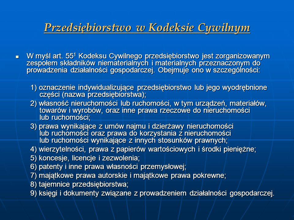 Przedsiębiorstwo w Kodeksie Cywilnym W myśl art. 55 1 Kodeksu Cywilnego przedsiębiorstwo jest zorganizowanym zespołem składników niematerialnych i mat
