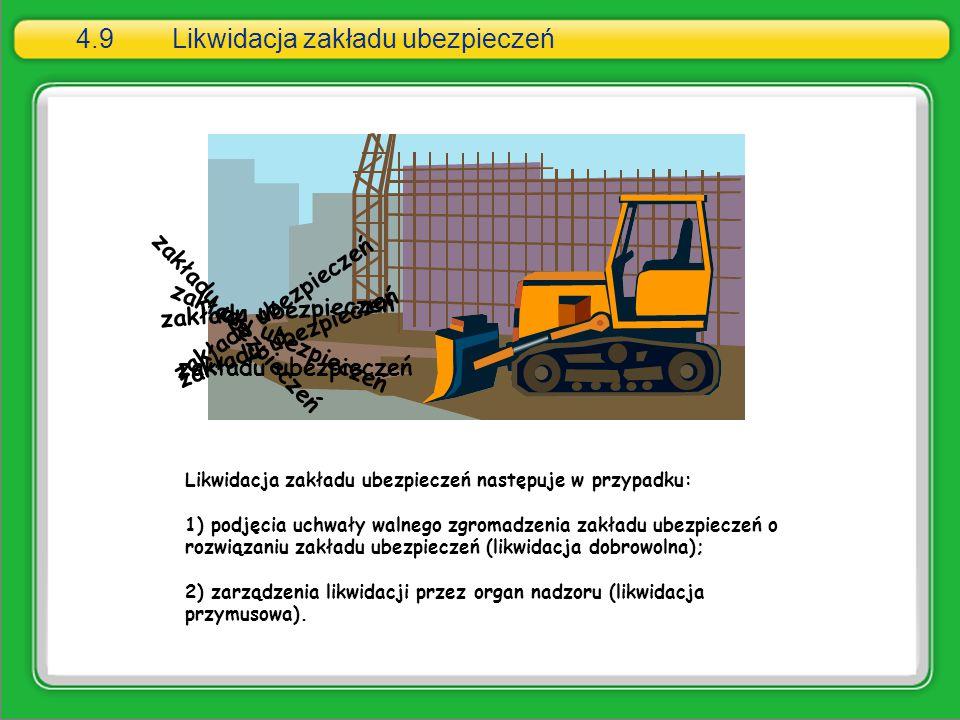 4.9Likwidacja zakładu ubezpieczeń Likwidacja zakładu ubezpieczeń następuje w przypadku: 1) podjęcia uchwały walnego zgromadzenia zakładu ubezpieczeń o