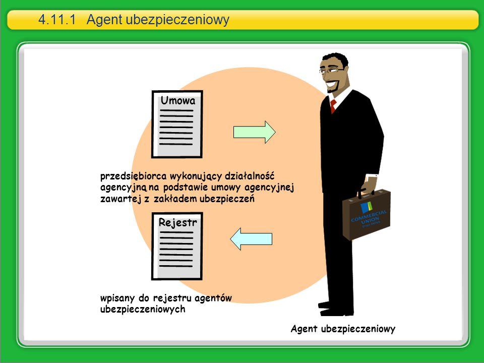4.11.1Agent ubezpieczeniowy przedsiębiorca wykonujący działalność agencyjną na podstawie umowy agencyjnej zawartej z zakładem ubezpieczeń wpisany do r