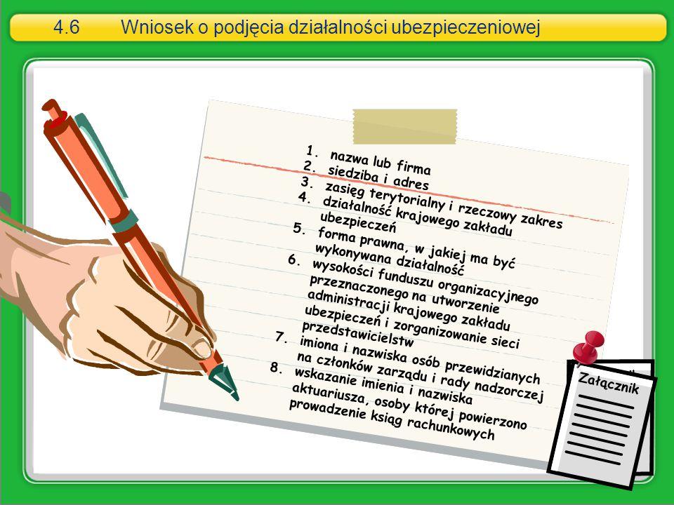 4.6Wniosek o podjęcia działalności ubezpieczeniowej 1.nazwa lub firma 2.siedziba i adres 3.zasięg terytorialny i rzeczowy zakres 4.działalność krajowe