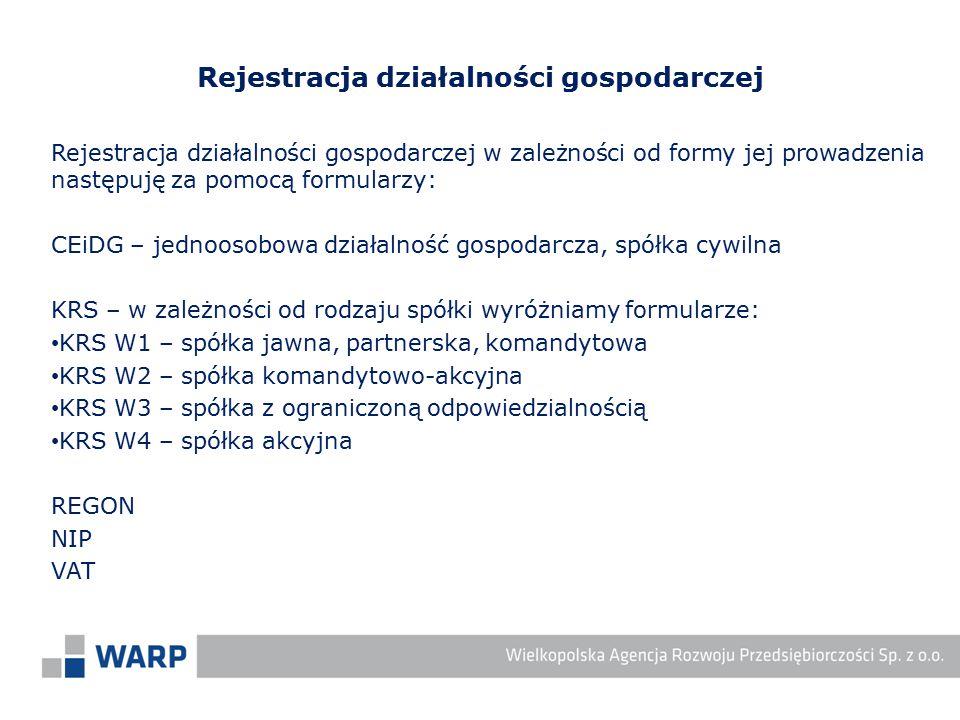 Rejestracja działalności gospodarczej w zależności od formy jej prowadzenia następuję za pomocą formularzy: CEiDG – jednoosobowa działalność gospodarc
