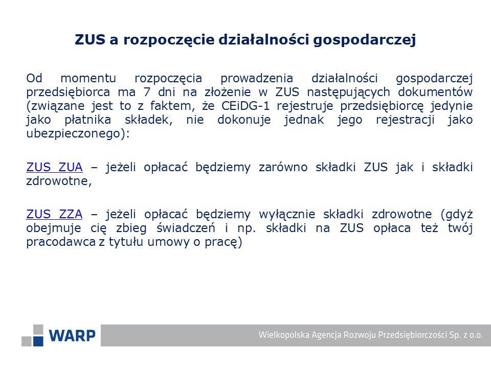 Od momentu rozpoczęcia prowadzenia działalności gospodarczej przedsiębiorca ma 7 dni na złożenie w ZUS następujących dokumentów (związane jest to z fa