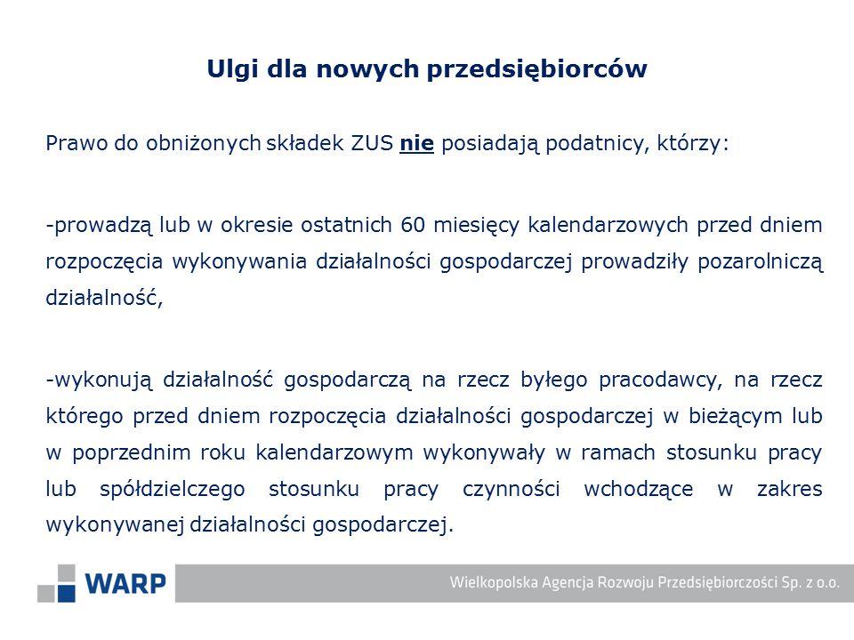 Prawo do obniżonych składek ZUS nie posiadają podatnicy, którzy: -prowadzą lub w okresie ostatnich 60 miesięcy kalendarzowych przed dniem rozpoczęcia