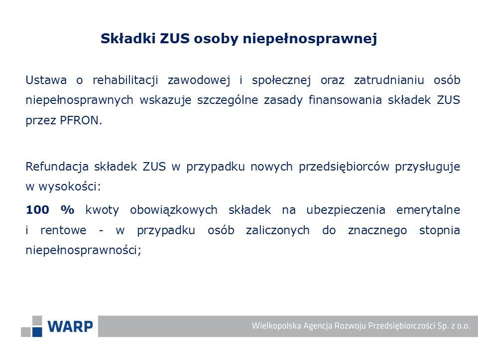 Ustawa o rehabilitacji zawodowej i społecznej oraz zatrudnianiu osób niepełnosprawnych wskazuje szczególne zasady finansowania składek ZUS przez PFRON