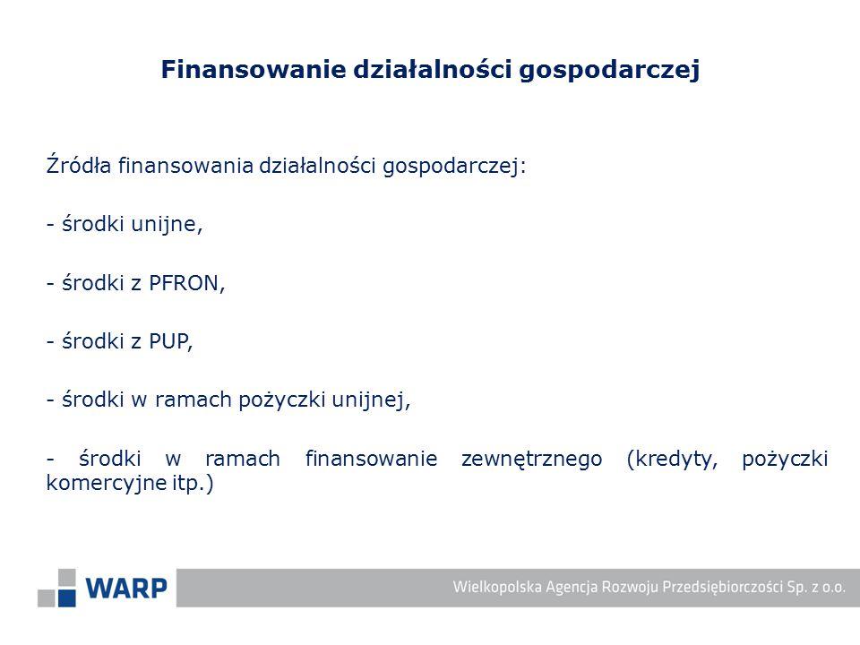Źródła finansowania działalności gospodarczej: - środki unijne, - środki z PFRON, - środki z PUP, - środki w ramach pożyczki unijnej, - środki w ramac