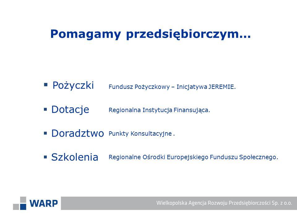  Pożyczki  Dotacje  Doradztwo  Szkolenia Regionalna Instytucja Finansująca. Punkty Konsultacyjne. Fundusz Pożyczkowy – Inicjatywa JEREMIE. Regiona