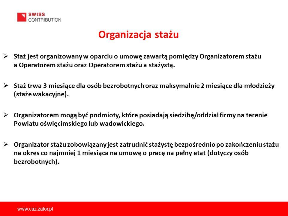 www.caz.zator.pl Organizacja stażu  Staż jest organizowany w oparciu o umowę zawartą pomiędzy Organizatorem stażu a Operatorem stażu oraz Operatorem
