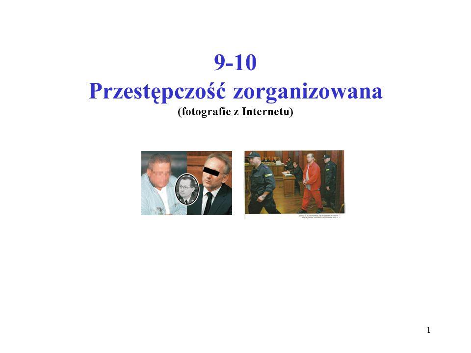 Przestępczość zorganizowana w Polsce Wzorowane na przyjętych przez Europol, uznane przez CBŚ kryteria identyfikacji zorganizowanej grupy przestępczej i przesłanki do wszczęcia działań wobec niej: 1.Współpraca więcej niż dwóch osób 2.Wyznaczenie dla każdej z nich określonego zakresu działania w grupie 3.Dłuższy lub bezterminowy okres współpracy tych osób 4.Stosowanie wewnętrznej kontroli i środków dyscyplinujących (wewnętrzna i zewnętrzna hermetyczność prowadzonych działań) 5.Podejrzenia popełnienia ciężkich przestępstw 6.Działanie na płaszczyźnie międzynarodowej 12