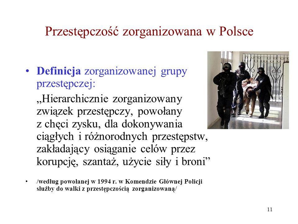 """Przestępczość zorganizowana w Polsce Definicja zorganizowanej grupy przestępczej: """"Hierarchicznie zorganizowany związek przestępczy, powołany z chęci"""