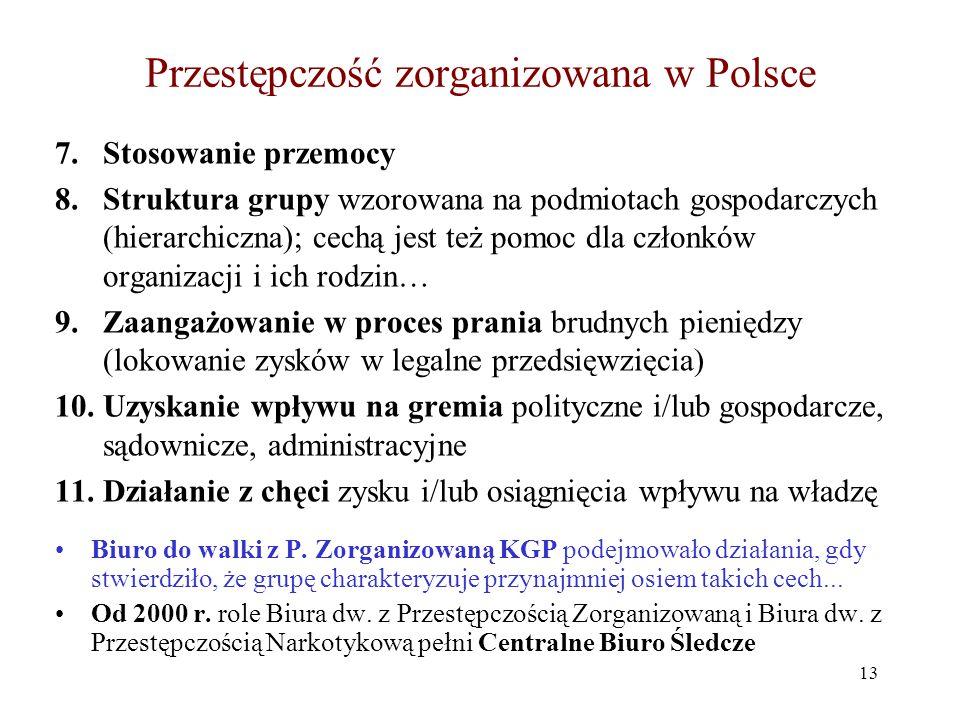 Przestępczość zorganizowana w Polsce 7.Stosowanie przemocy 8.Struktura grupy wzorowana na podmiotach gospodarczych (hierarchiczna); cechą jest też pom
