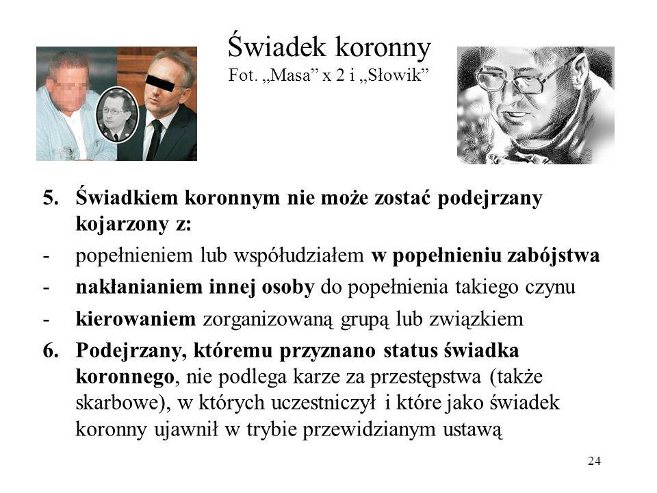 """Świadek koronny Fot. """"Masa"""" x 2 i """"Słowik"""" 5.Świadkiem koronnym nie może zostać podejrzany kojarzony z: -popełnieniem lub współudziałem w popełnieniu"""