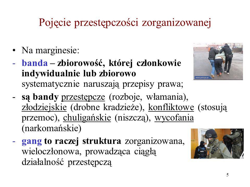 Struktura zorganizowanej grupy przestępczej, jej uwarunkowania i determinanty Typowe struktury organizacyjne 1.Struktura gwiaździsta (z wyraźnie wyodrębnionym centrum i z powiązanymi z nim osobami/zespołami osób – Cosa Nostra) 2.Sieć (struktura siatkowa – brak wyraźnego centrum, istnieje kilka równorzędnych osób/grup współpracujących ze sobą – norweski gang Tveita) 3.Struktura liniowa (ciąg osób, zespołów; bez kontaktu pomiędzy granicznymi ogniwami – zob./czyt.