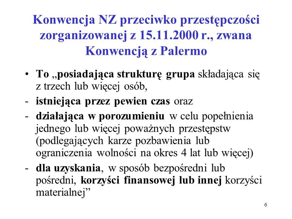 """Konwencja NZ przeciwko przestępczości zorganizowanej z 15.11.2000 r., zwana Konwencją z Palermo To """"posiadająca strukturę grupa składająca się z trzec"""