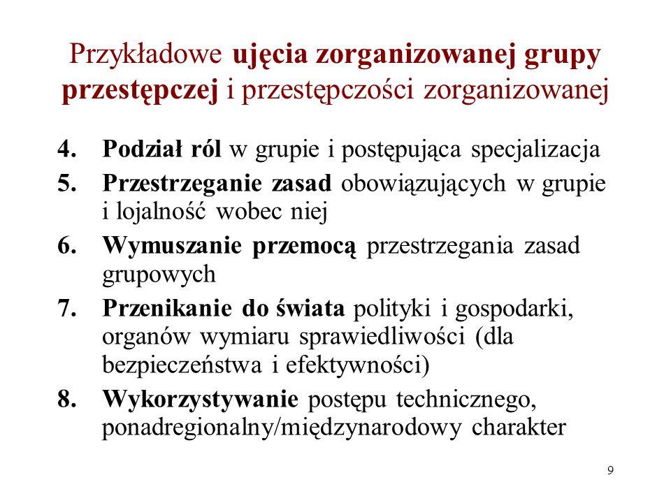 Przykładowe ujęcia zorganizowanej grupy przestępczej i przestępczości zorganizowanej 4. Podział ról w grupie i postępująca specjalizacja 5. Przestrzeg