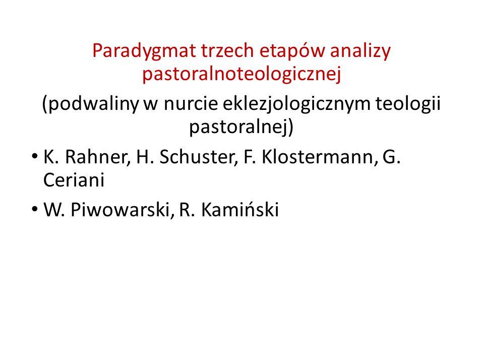 Paradygmat trzech etapów analizy pastoralnoteologicznej (podwaliny w nurcie eklezjologicznym teologii pastoralnej) K.