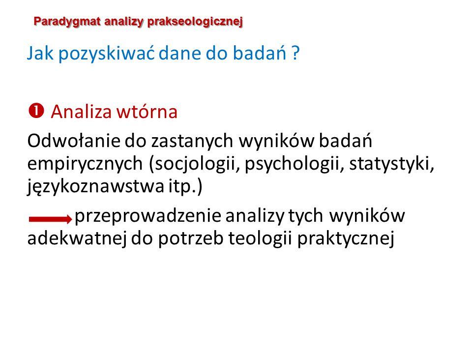 Paradygmat analizy prakseologicznej Jak pozyskiwać dane do badań .