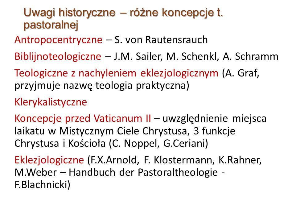 Uwagi historyczne – różne koncepcje t. pastoralnej Antropocentryczne – S.