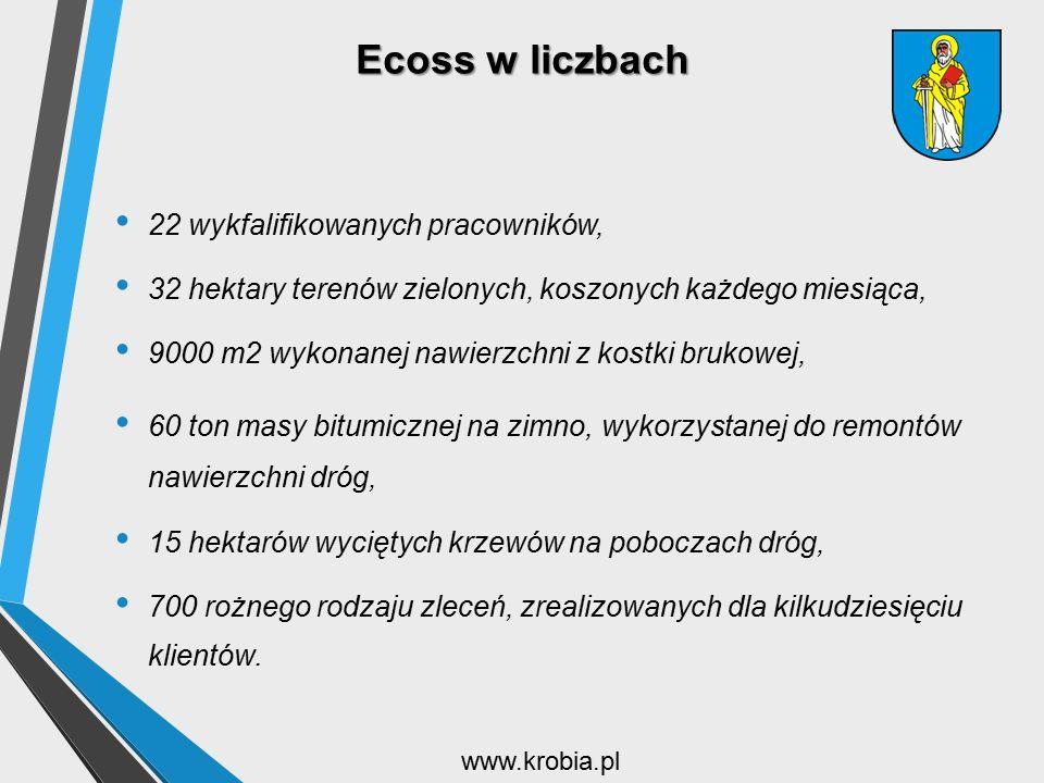 Ecoss w liczbach 22 wykfalifikowanych pracowników, 32 hektary terenów zielonych, koszonych każdego miesiąca, 9000 m2 wykonanej nawierzchni z kostki br