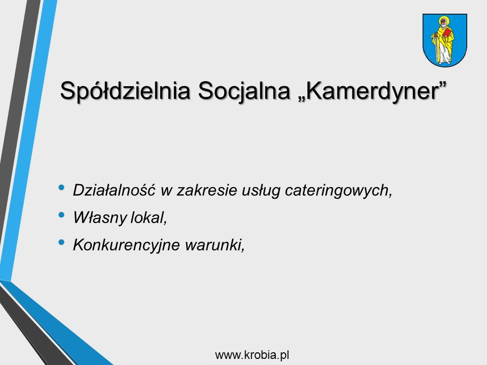 """Spółdzielnia Socjalna """"Kamerdyner"""" Działalność w zakresie usług cateringowych, Własny lokal, Konkurencyjne warunki, www.krobia.pl"""