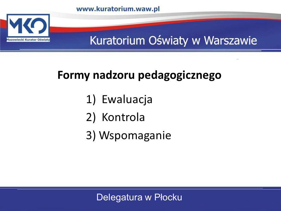 1)Ewaluacja 2)Kontrola 3) Wspomaganie Formy nadzoru pedagogicznego