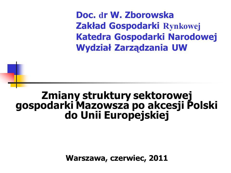 2 Plan prezentacji I Cel i metoda analizy II Struktura sektorowa polskiej gospodarki i Unii Europejskiej III Struktura sektorowa gospodarki Mazowsza na tle Polski i pozostałych województw w 2008 r.