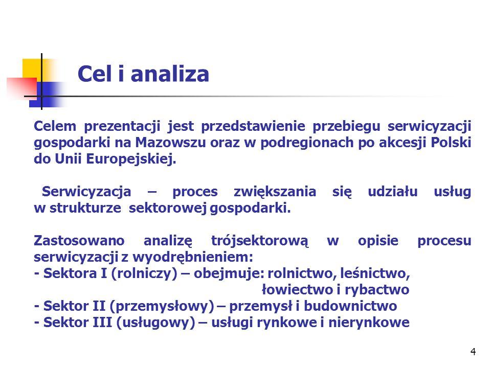 4 Cel i analiza Celem prezentacji jest przedstawienie przebiegu serwicyzacji gospodarki na Mazowszu oraz w podregionach po akcesji Polski do Unii Euro