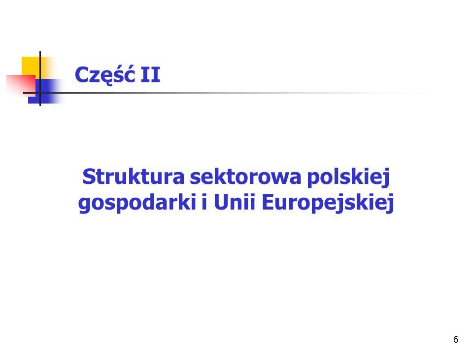 7 Tablica 1 Porównanie struktury wartości dodanej brutto w Polsce i UE w 2008 r.