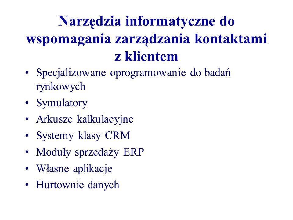 Narzędzia informatyczne do wspomagania zarządzania kontaktami z klientem Specjalizowane oprogramowanie do badań rynkowych Symulatory Arkusze kalkulacyjne Systemy klasy CRM Moduły sprzedaży ERP Własne aplikacje Hurtownie danych