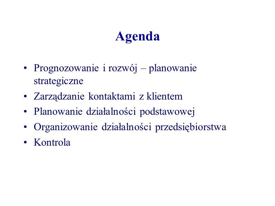 Agenda Prognozowanie i rozwój – planowanie strategiczne Zarządzanie kontaktami z klientem Planowanie działalności podstawowej Organizowanie działalności przedsiębiorstwa Kontrola