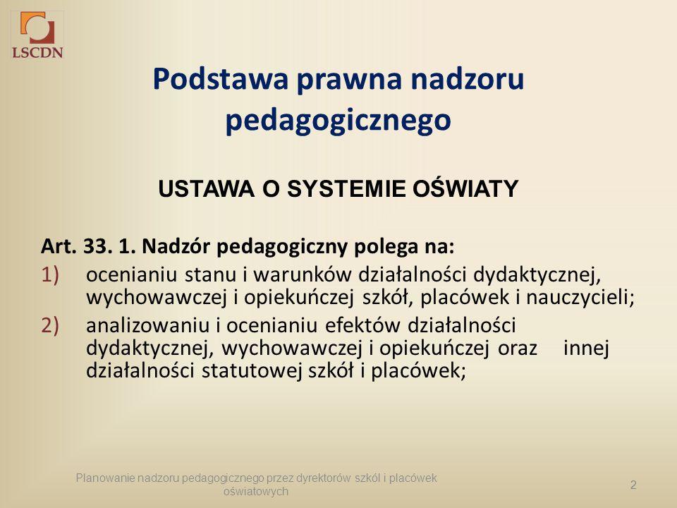2 Podstawa prawna nadzoru pedagogicznego USTAWA O SYSTEMIE OŚWIATY Art. 33. 1. Nadzór pedagogiczny polega na: 1)ocenianiu stanu i warunków działalnośc