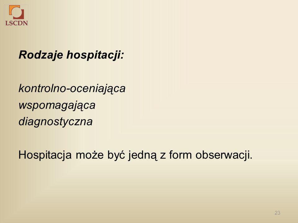 23 Rodzaje hospitacji: kontrolno-oceniająca wspomagająca diagnostyczna Hospitacja może być jedną z form obserwacji.