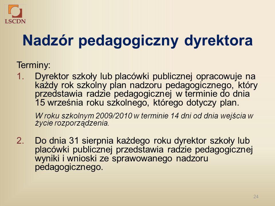 24 Nadzór pedagogiczny dyrektora Terminy: 1.Dyrektor szkoły lub placówki publicznej opracowuje na każdy rok szkolny plan nadzoru pedagogicznego, który