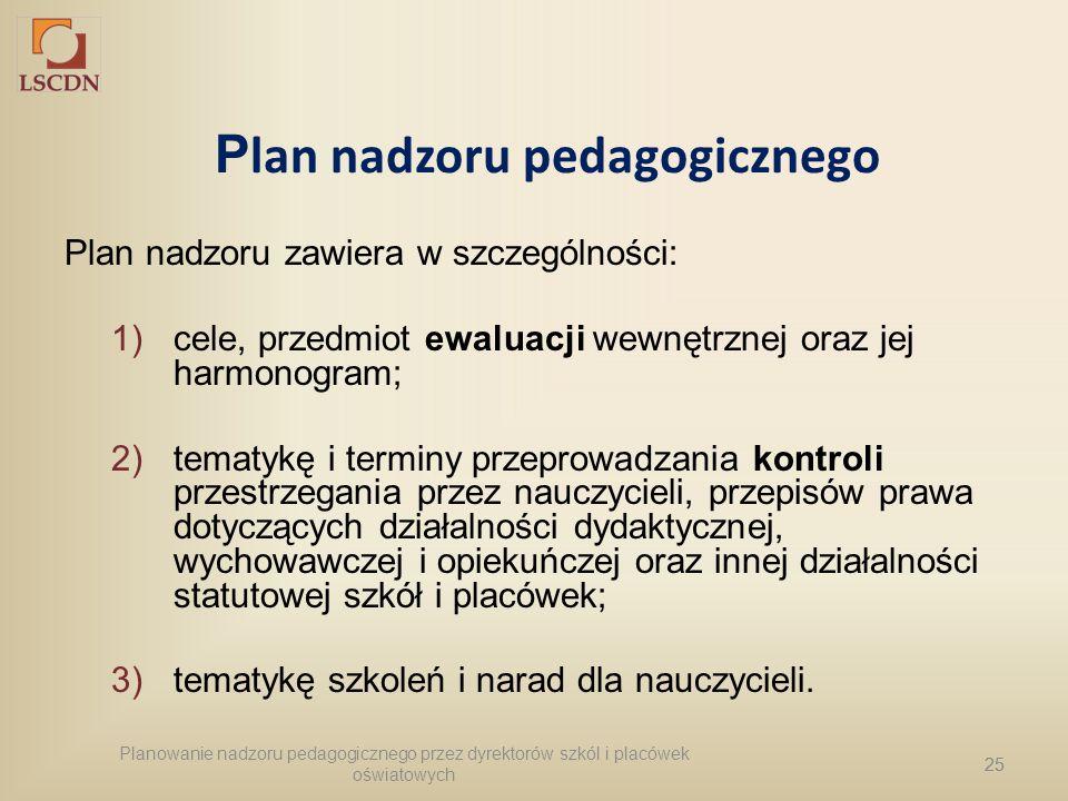 25 P lan nadzoru pedagogicznego Plan nadzoru zawiera w szczególności: 1)cele, przedmiot ewaluacji wewnętrznej oraz jej harmonogram; 2)tematykę i termi