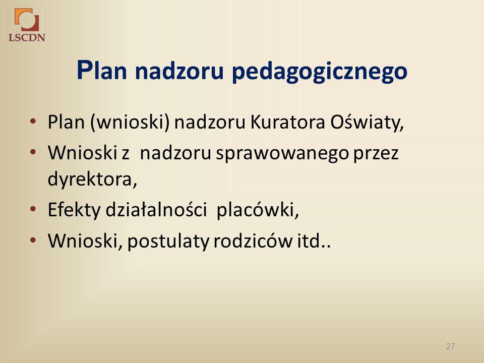 27 P lan nadzoru pedagogicznego Plan (wnioski) nadzoru Kuratora Oświaty, Wnioski z nadzoru sprawowanego przez dyrektora, Efekty działalności placówki,