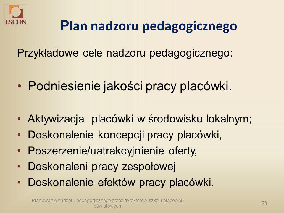 28 P lan nadzoru pedagogicznego Przykładowe cele nadzoru pedagogicznego: Podniesienie jakości pracy placówki. Aktywizacja placówki w środowisku lokaln