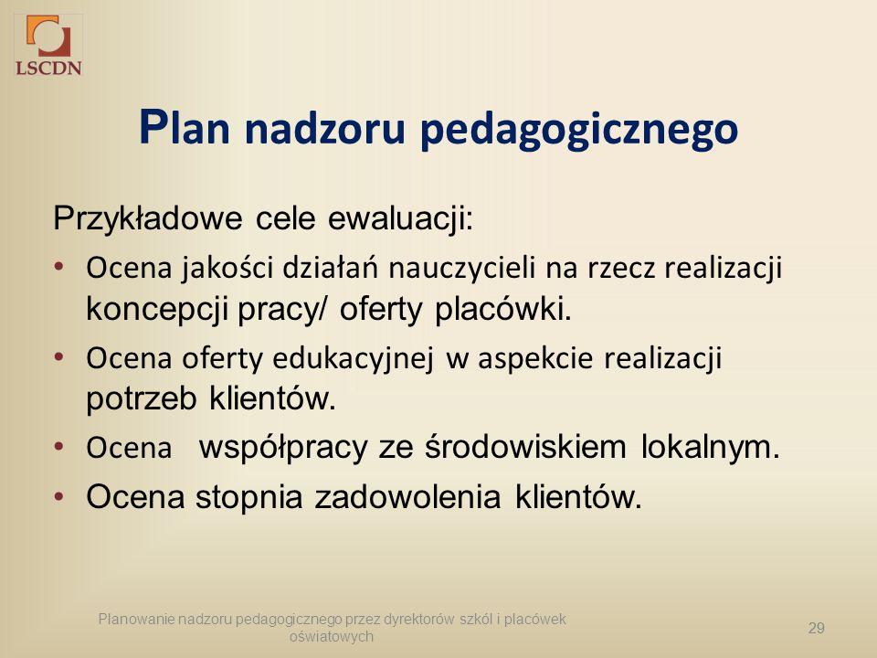 29 P lan nadzoru pedagogicznego Przykładowe cele ewaluacji: Ocena jakości działań nauczycieli na rzecz realizacji koncepcji pracy/ oferty placówki. Oc