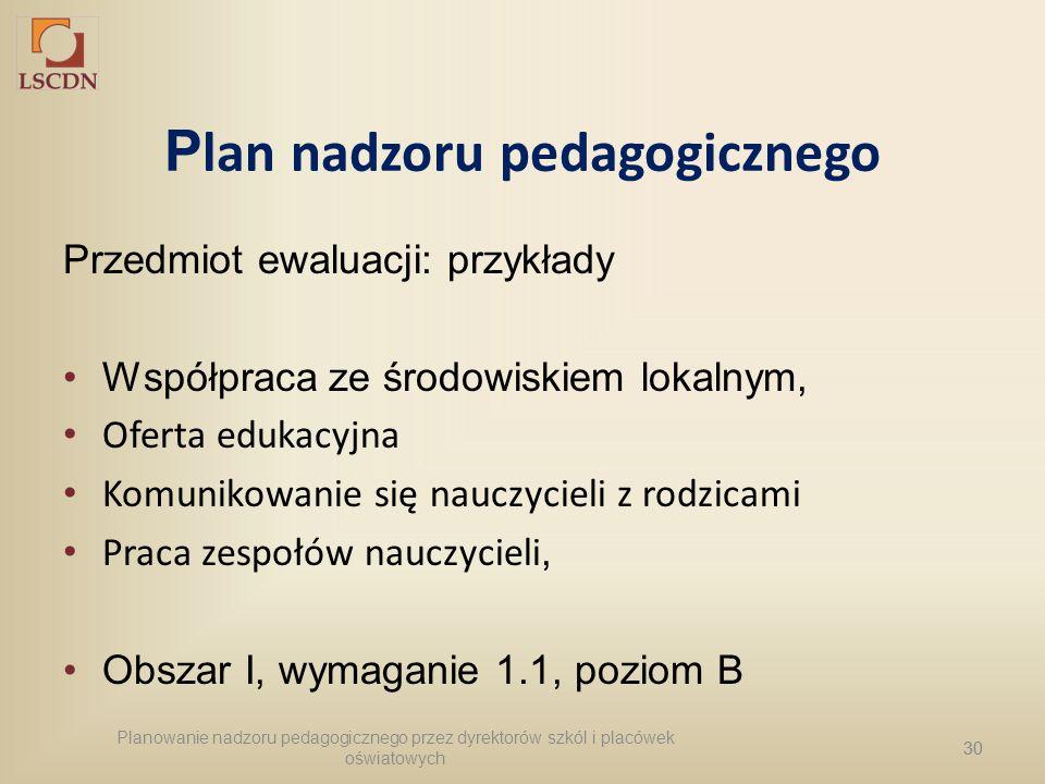 30 P lan nadzoru pedagogicznego Przedmiot ewaluacji: przykłady Współpraca ze środowiskiem lokalnym, Oferta edukacyjna Komunikowanie się nauczycieli z