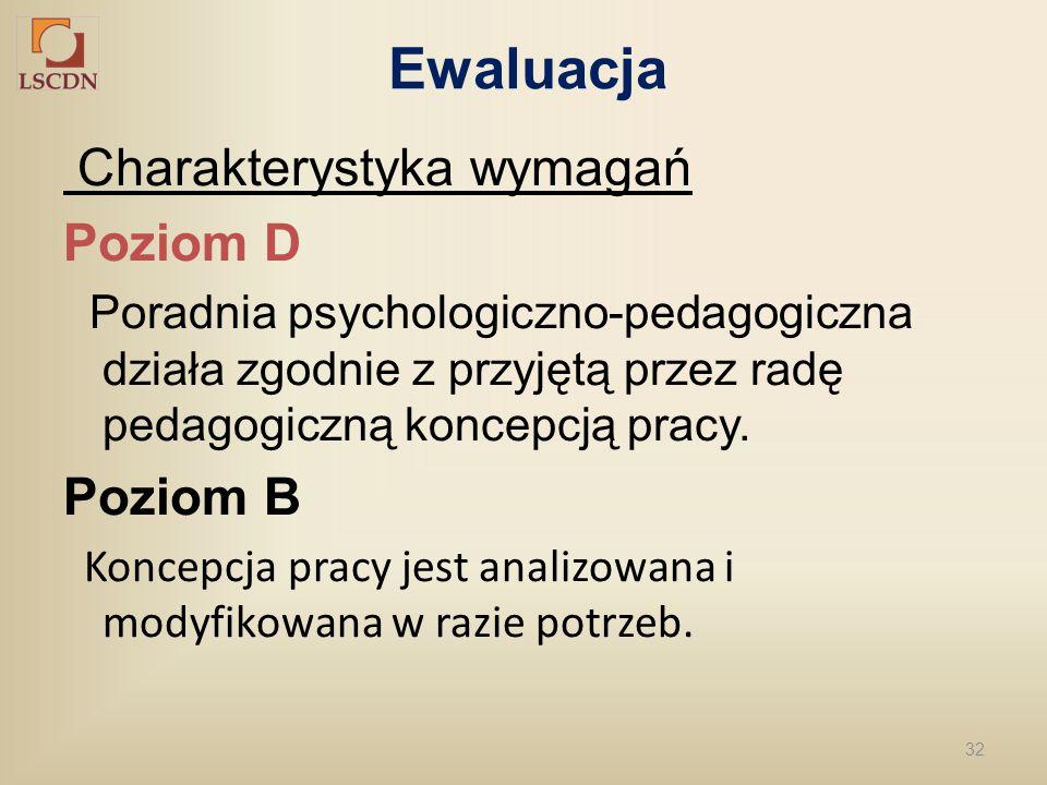 32 Ewaluacja Charakterystyka wymagań Poziom D Poradnia psychologiczno-pedagogiczna działa zgodnie z przyjętą przez radę pedagogiczną koncepcją pracy.