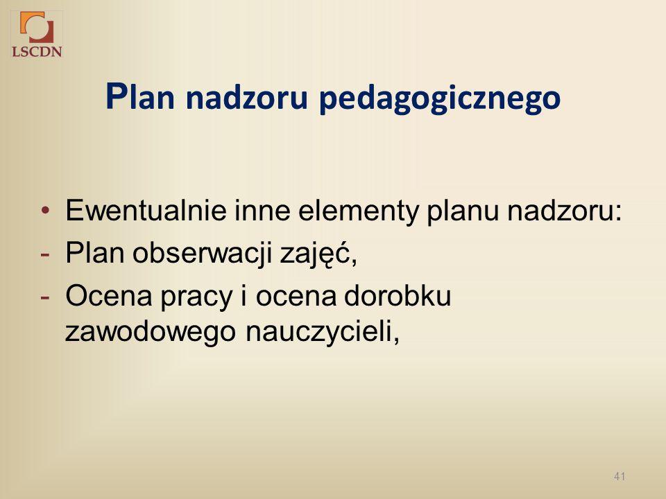 41 P lan nadzoru pedagogicznego Ewentualnie inne elementy planu nadzoru: -Plan obserwacji zajęć, -Ocena pracy i ocena dorobku zawodowego nauczycieli,
