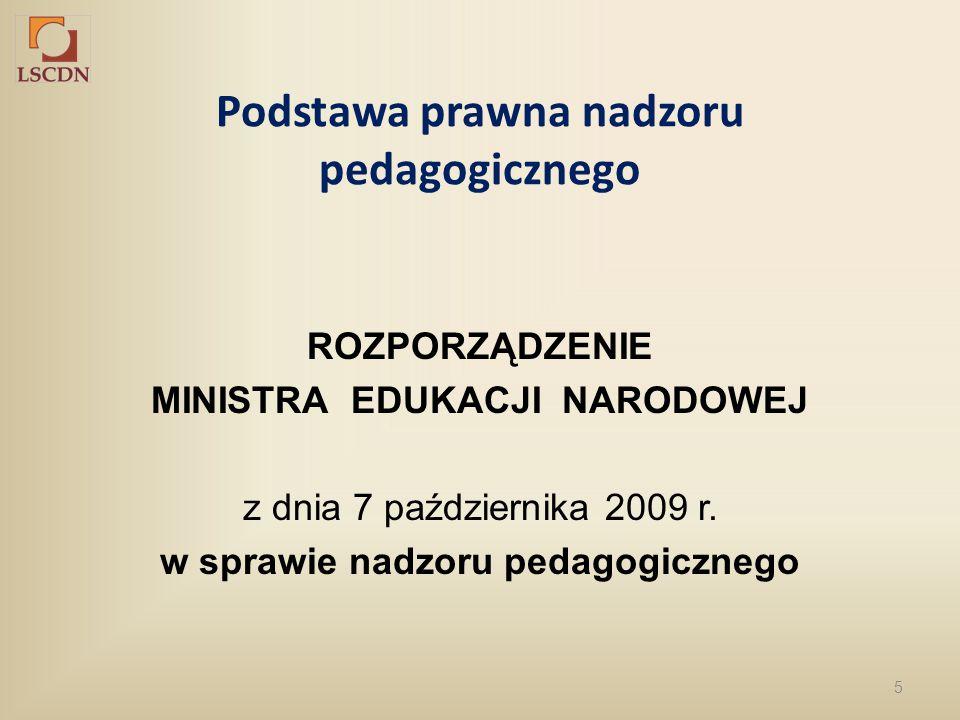 5 Podstawa prawna nadzoru pedagogicznego ROZPORZĄDZENIE MINISTRA EDUKACJI NARODOWEJ z dnia 7 października 2009 r. w sprawie nadzoru pedagogicznego
