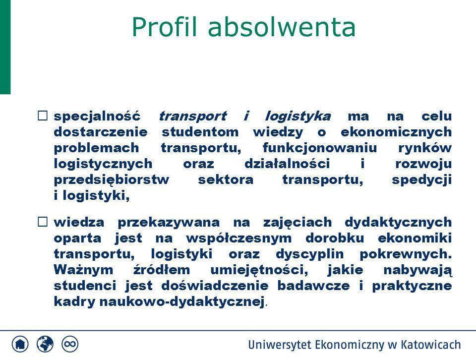 Profil absolwenta  specjalność transport i logistyka ma na celu dostarczenie studentom wiedzy o ekonomicznych problemach transportu, funkcjonowaniu r