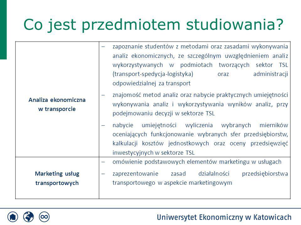Co jest przedmiotem studiowania? Analiza ekonomiczna w transporcie  zapoznanie studentów z metodami oraz zasadami wykonywania analiz ekonomicznych, z