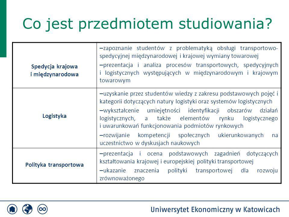 Co jest przedmiotem studiowania? Spedycja krajowa i międzynarodowa – zapoznanie studentów z problematyką obsługi transportowo- spedycyjnej międzynarod