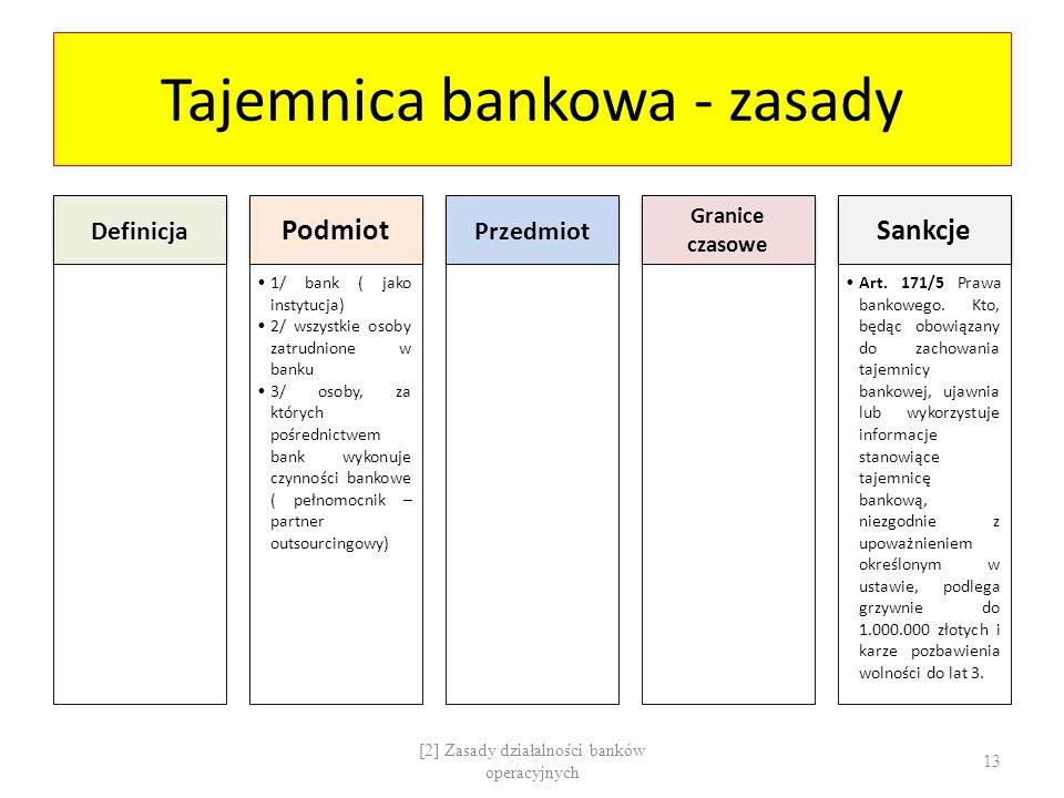 Tajemnica bankowa - zasady Definicja Podmiot 1/ bank ( jako instytucja) 2/ wszystkie osoby zatrudnione w banku 3/ osoby, za których pośrednictwem bank