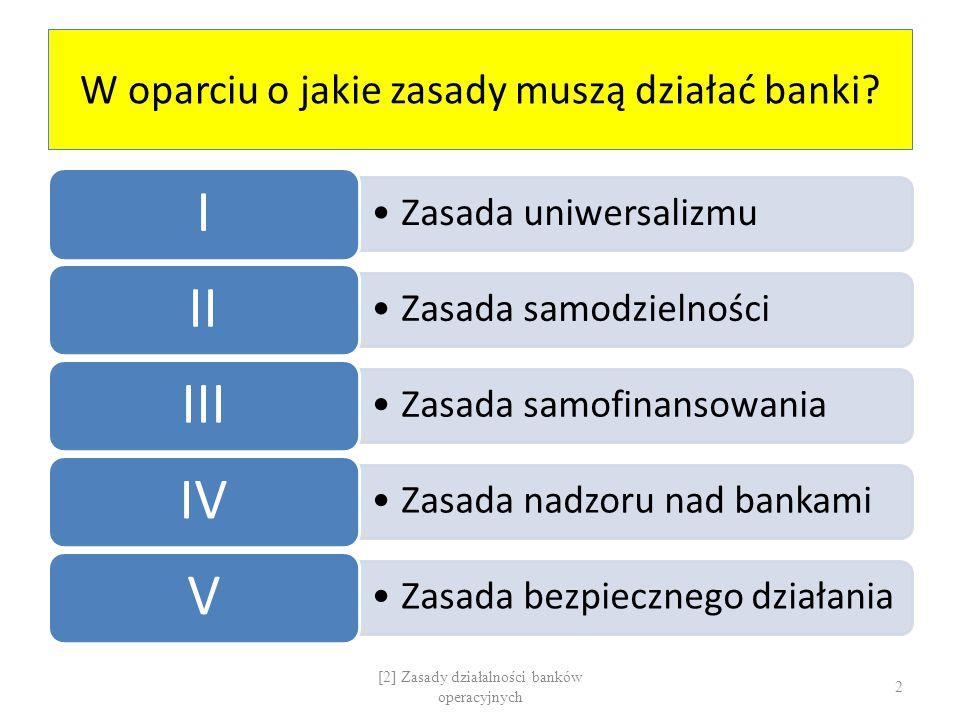 ZASADA I:Uniwersalizm ZASADA II: Samodzielność Uniwersalizm W zakresie prawodawstwa bankowego W zakresie czynności bankowych Samodzielność PRZYKŁADY: Sieć handlowaGospodarka finansowaZakres działalnościForma działalnościZobowiązania / Czynności bankoweOGRANICZENIA: Nadzór bankowy + Instrumenty polityki pieniężnej [2] Zasady działalności banków operacyjnych 3
