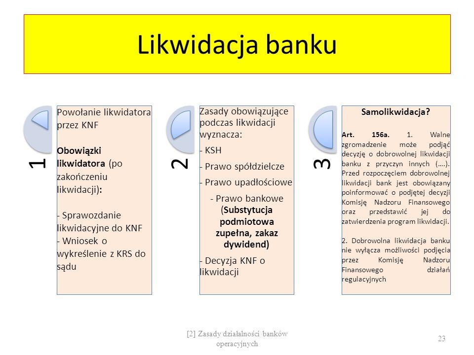 Likwidacja banku 1 Powołanie likwidatora przez KNF Obowiązki likwidatora (po zakończeniu likwidacji): - Sprawozdanie likwidacyjne do KNF - Wniosek o w