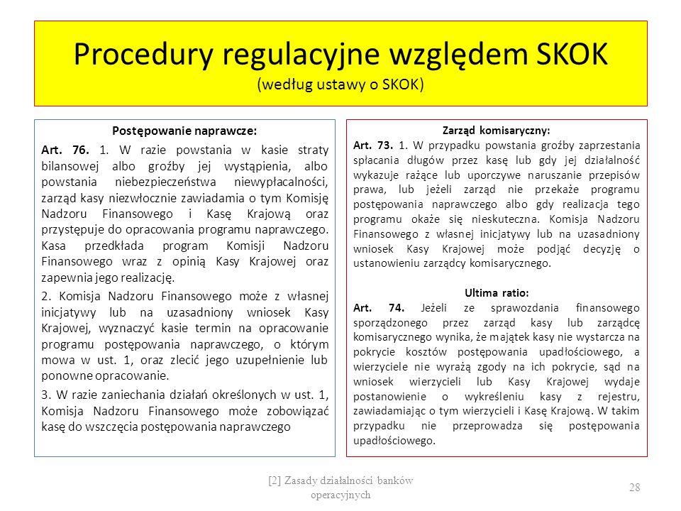 Procedury regulacyjne względem SKOK (według ustawy o SKOK) Postępowanie naprawcze: Art. 76. 1. W razie powstania w kasie straty bilansowej albo groźby