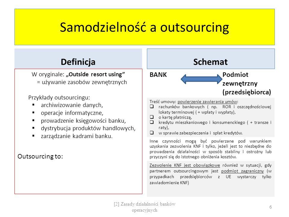 """Samodzielność a outsourcing Definicja W oryginale: """"Outside resort using"""" = używanie zasobów zewnętrznych Przykłady outsourcingu:  archiwizowanie dan"""